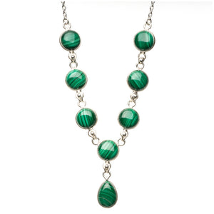 "Natural Malachite 925 Sterling Silver Y-Shaped Necklace 18 1/4"" R2650"