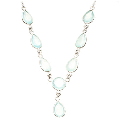 Natural Chalcedony 925 Sterling Silver Y-Shaped Necklace 19