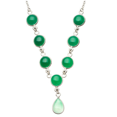 Natural Chrysoprase 925 Sterling Silver Y-Shaped Necklace 18 1/4