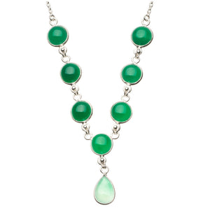 "Natural Chrysoprase 925 Sterling Silver Y-Shaped Necklace 18 1/4"" R2664"