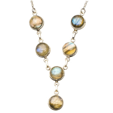 Natural Blue Fire Labradorite 925 Sterling Silver Y-Shaped Necklace 20