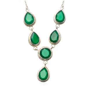 "Natural Chrysoprase 925 Sterling Silver Y-Shaped Necklace 19"" R2676"