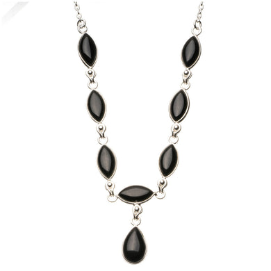 Natural Black Onyx 925 Sterling Silver Y-Shaped Necklace 18