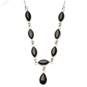 "Natural Black Onyx 925 Sterling Silver Y-Shaped Necklace 18"" R2681"