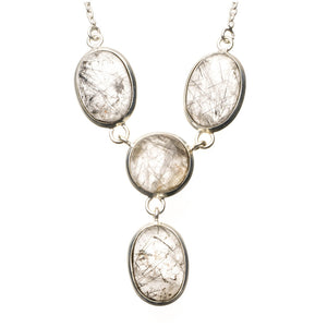 "Natural Tourmalinated Quartz 925 Sterling Silver Y-Shaped Necklace 19"" R2683"