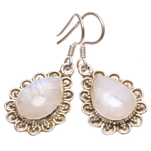 "Natural Rainbow Moonstone Handmade Indian 925 Sterling Silver Earrings 1 1/4"" S1657"