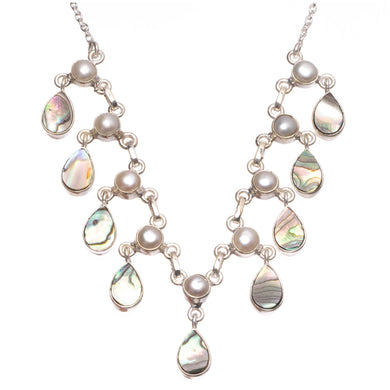 Natural Abalone Shell and River Pearl Handmade 925 Sterling Silver Y-Shaped Necklace 16.75