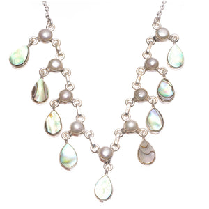 "Natural Abalone Shell and River Pearl Handmade 925 Sterling Silver Y-Shaped Necklace 17.25"" S3484"