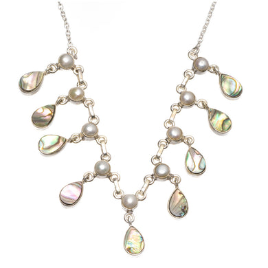 Natural Abalone Shell and River Pearl Handmade 925 Sterling Silver Y-Shaped Necklace 17.5