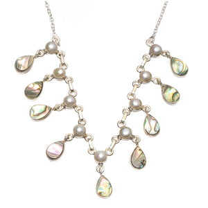 "Natural Abalone Shell and River Pearl Handmade 925 Sterling Silver Y-Shaped Necklace 17.5"" S3506"