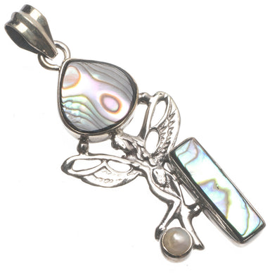 Natural Abalone Shell and River Pearl Angel Handmade Boho 925 Sterling Silver Pendant 2