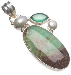 "Australian Chrysoprase,Chrysoprase and River Pearl Handmade Indian 925 Sterling Silver Pendant 2"" T2032"