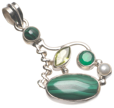 Malachite,Peridot,Chrysoprase and River Pearl Handmade Indian 925 Sterling Silver Pendant 1 3/4