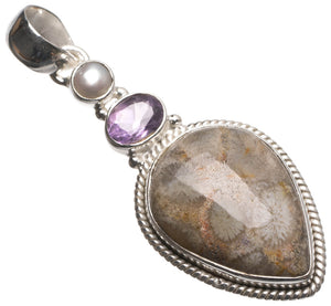 "Chrysanthemum Jasper,Amethyst and River Pearl Handmade Mexican 925 Sterling Silver Pendant 2"" T2181"