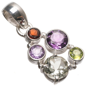 "Amethyst,Garnet,Peridot and Green Amethyst Handmade Indian 925 Sterling Silver Pendant 1 1/2"" T2327"