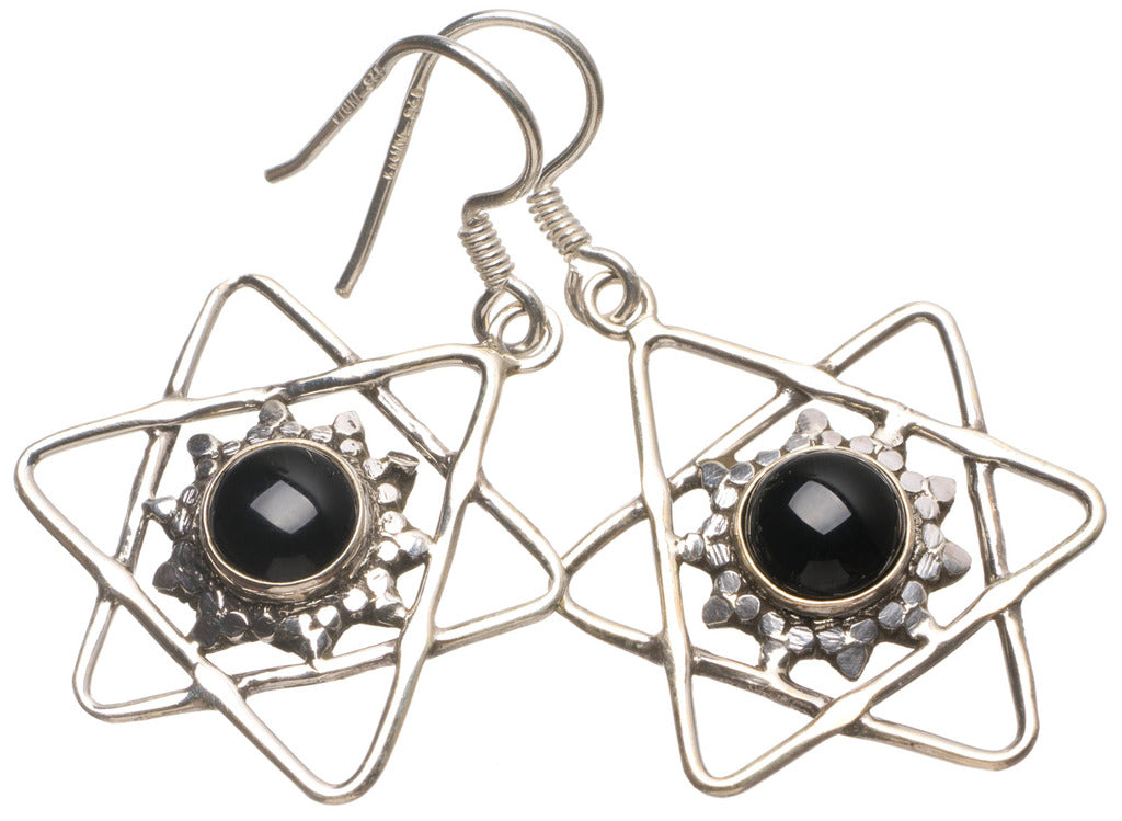 Natural Black Onyx Handmade Unique 925 Sterling Silver Earrings 1 1/2
