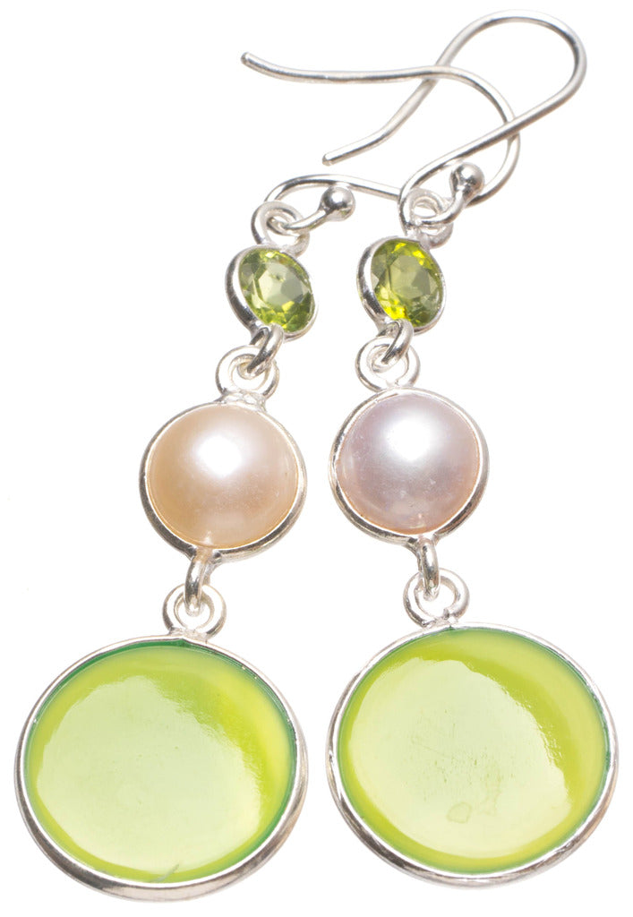 Natural Chrysoprase,River Pearl and Peridot Handmade Mexican 925 Sterling Silver Earrings 2