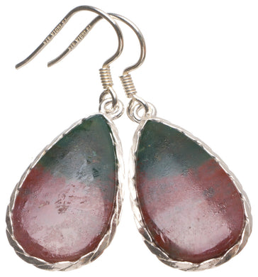 Natural Blood Stone Handmade Unique 925 Sterling Silver Earrings 1 1/2