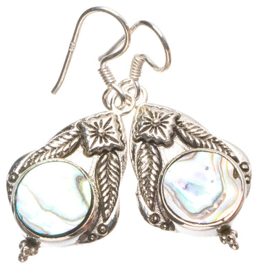 Natural Abalone Shell Handmade Mexican 925 Sterling Silver Earrings 1 1/2