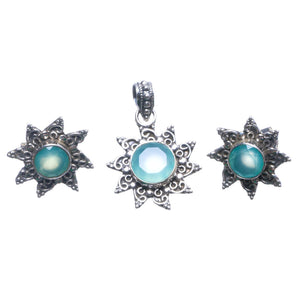 "Natural Chalcedony Indian 925 Sterling Silver Jewelry Set, Earrings Stud:3/4"" Pendant:1 1/4"" T8912"