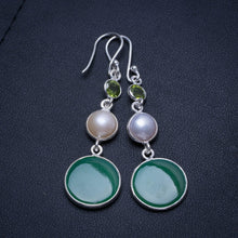 "Natural Chrysoprase,River Pearl and Peridot Handmade Mexican 925 Sterling Silver Earrings 2"" T4146"