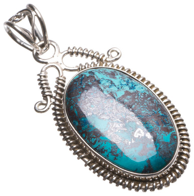 Natural Iron Chrysocolla Handmade Unique 925 Sterling Silver Pendant 2