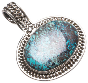 "Natural Iron Chrysocolla Handmade Indian 925 Sterling Silver Pendant 1 3/4"" U0092"