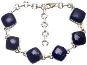 "Natural Navy Sodalite Handmade Indian 925 Sterling Silver Bracelet 6 1/4-8 1/4"" U2272"