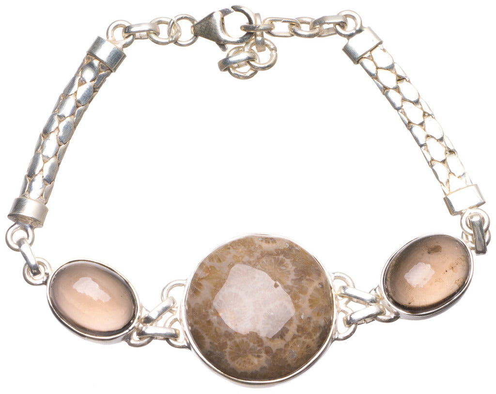 Natural Chrysanthemum Jasper and Smoky Quartz Mexican 925 Sterling Silver Bracelet 7-8 1/4