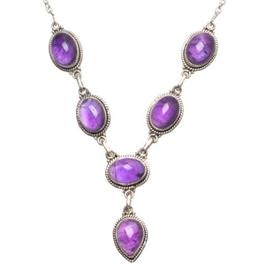 "Natural Amethyst Handmade Vintage 925 Sterling Silver Gemstone Necklace 17 3/4"" U2442"