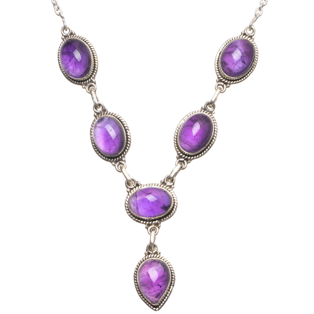 Natural Amethyst Handmade Vintage 925 Sterling Silver Gemstone Necklace 17 3/4