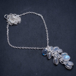 "Natural Rainbow Moonstone Handmade Mexican 925 Sterling Silver Gemstone Necklace 17 1/4"" U2391"