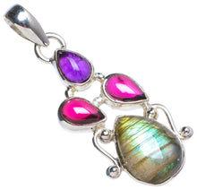 "Natural Blue Fire Labradorite and Amethyst Handmade Unique 925 Sterling Silver Pendant 1.75"" X0075"