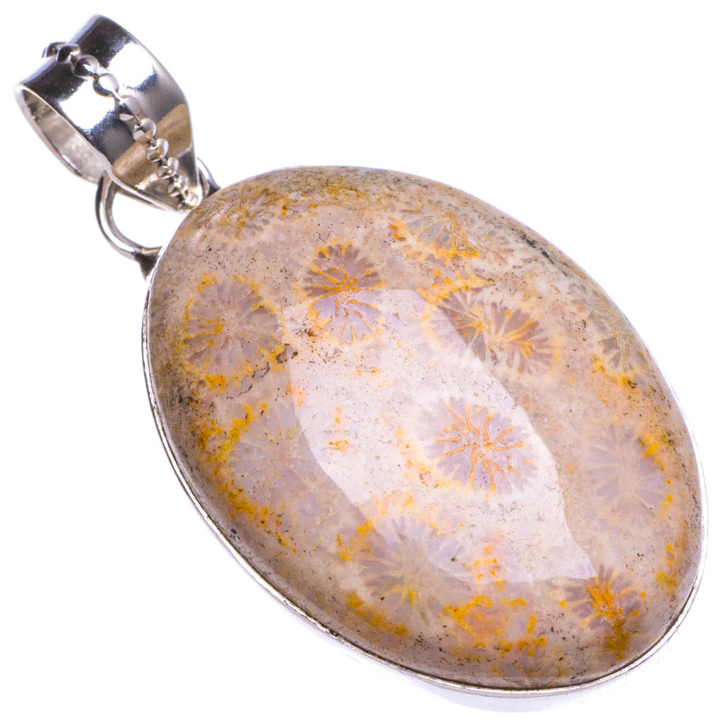 Natural Chrysanthemum Jasper Handmade Unique 925 Sterling Silver Pendant 1.5