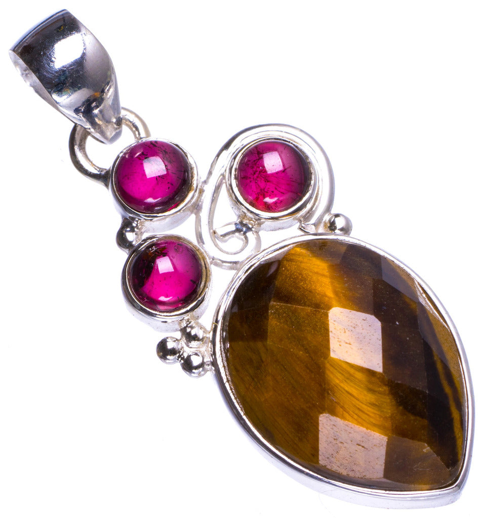 Natural Tiger Eye and Amethyst Handmade Unique 925 Sterling Silver Pendant 1.5
