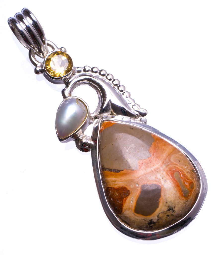 Natural Poppya Jasper,River Pearl and Citrine Handmade Unique 925 Sterling Silver Pendant 2