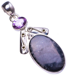 "Natural Picasso Jasper and Amethyst Handmade Unique 925 Sterling Silver Pendant 2"" X0407"