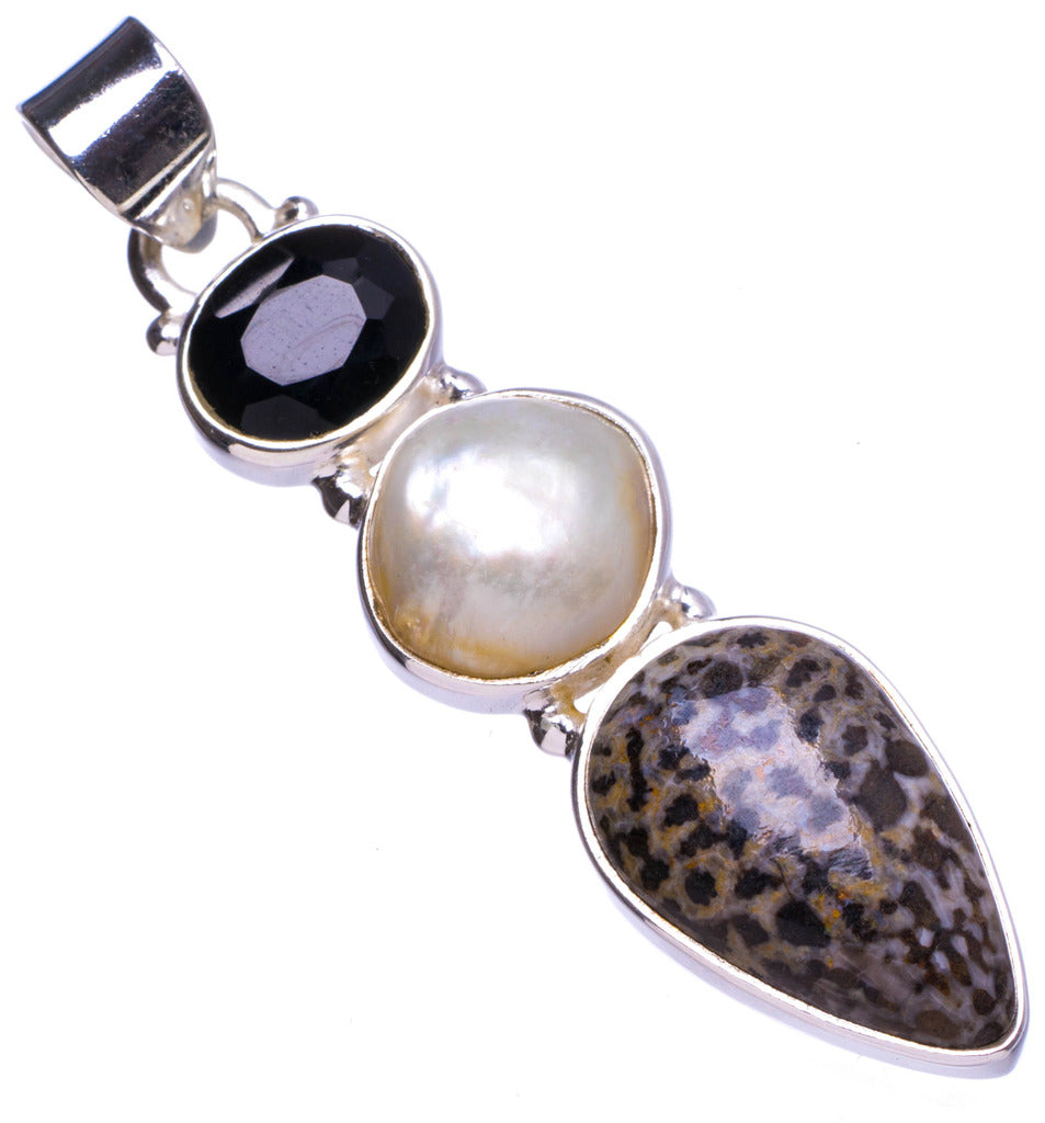 Natural Stingray Coral,Biwa Pearl and Black Onyx Handmade Unique 925 Sterling Silver Pendant 2