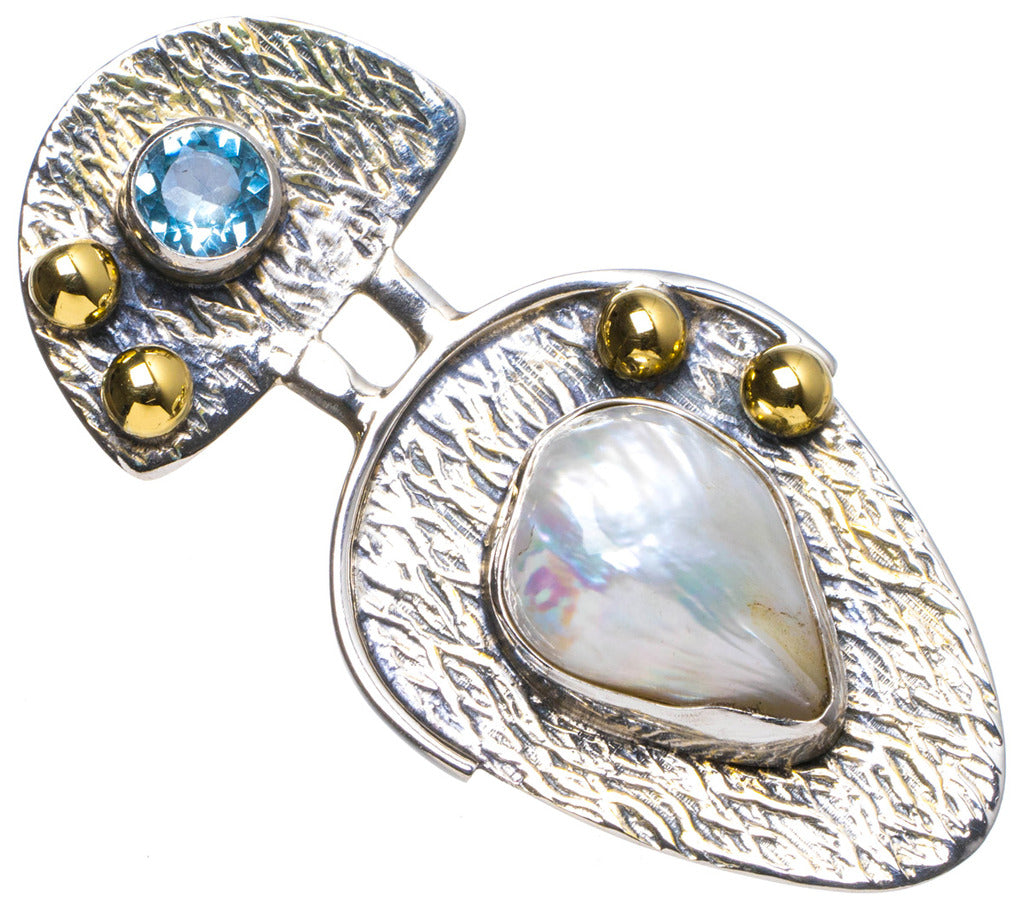 Natural Two Tones Biwa Pearl andBlue Topaz Handmade Unique 925 Sterling Silver Pendant 1.75