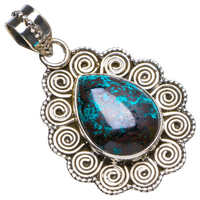 Natural Iron Chrysocolla Handmade Unique 925 Sterling Silver Pendant 1.5
