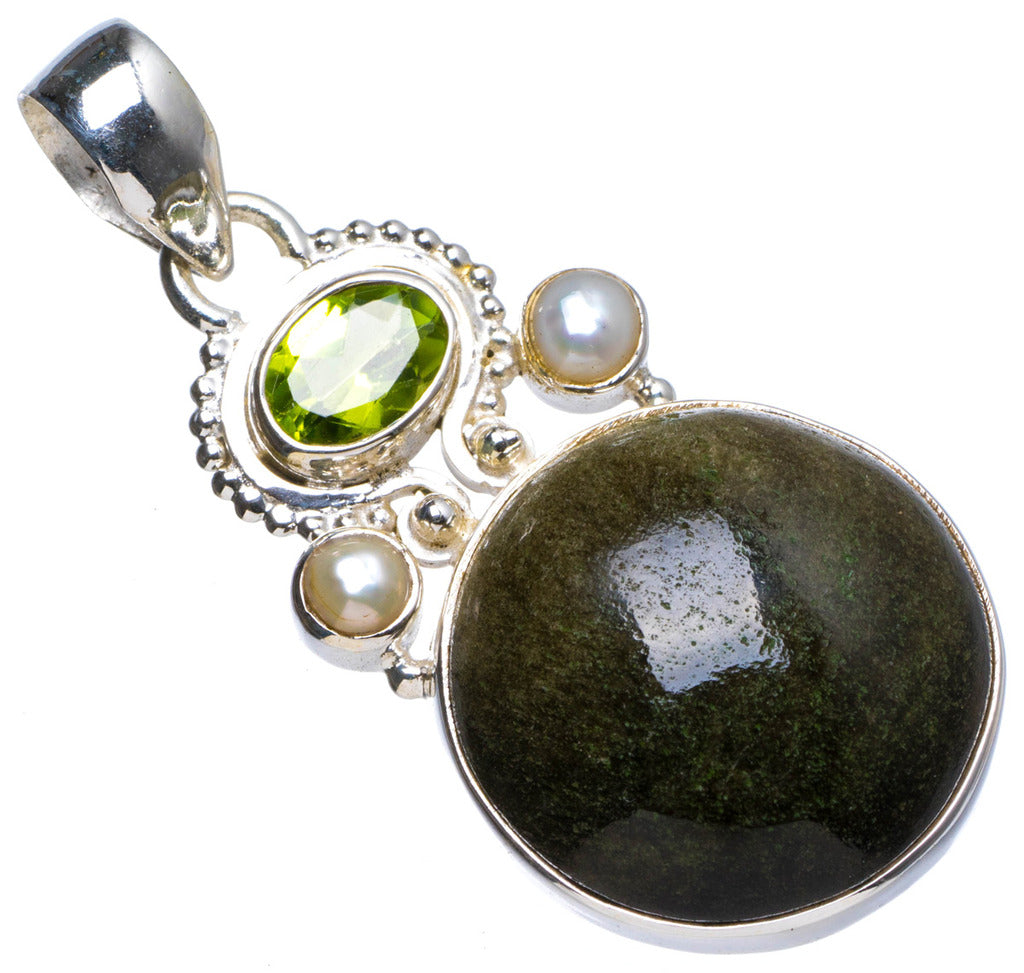 Natural Black Cat Eye,Peridot andRiver Pearl Handmade Unique 925 Sterling Silver Pendant 1.75