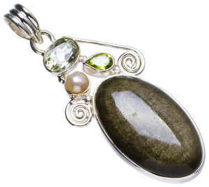 "Black Cat Eye,Green Amethyst,Peridot andRiver Pearl Unique 925 Sterling Silver Pendant 2.25"" X0627"