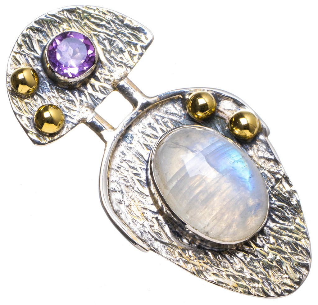 Natural Two Tones Rainbow Moonstone andAmethyst Handmade Unique 925 Sterling Silver Pendant 1.75
