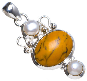 "Natural Dendritic Opal andRiver Pearl Handmade Unique 925 Sterling Silver Pendant 1.75"" X0717"