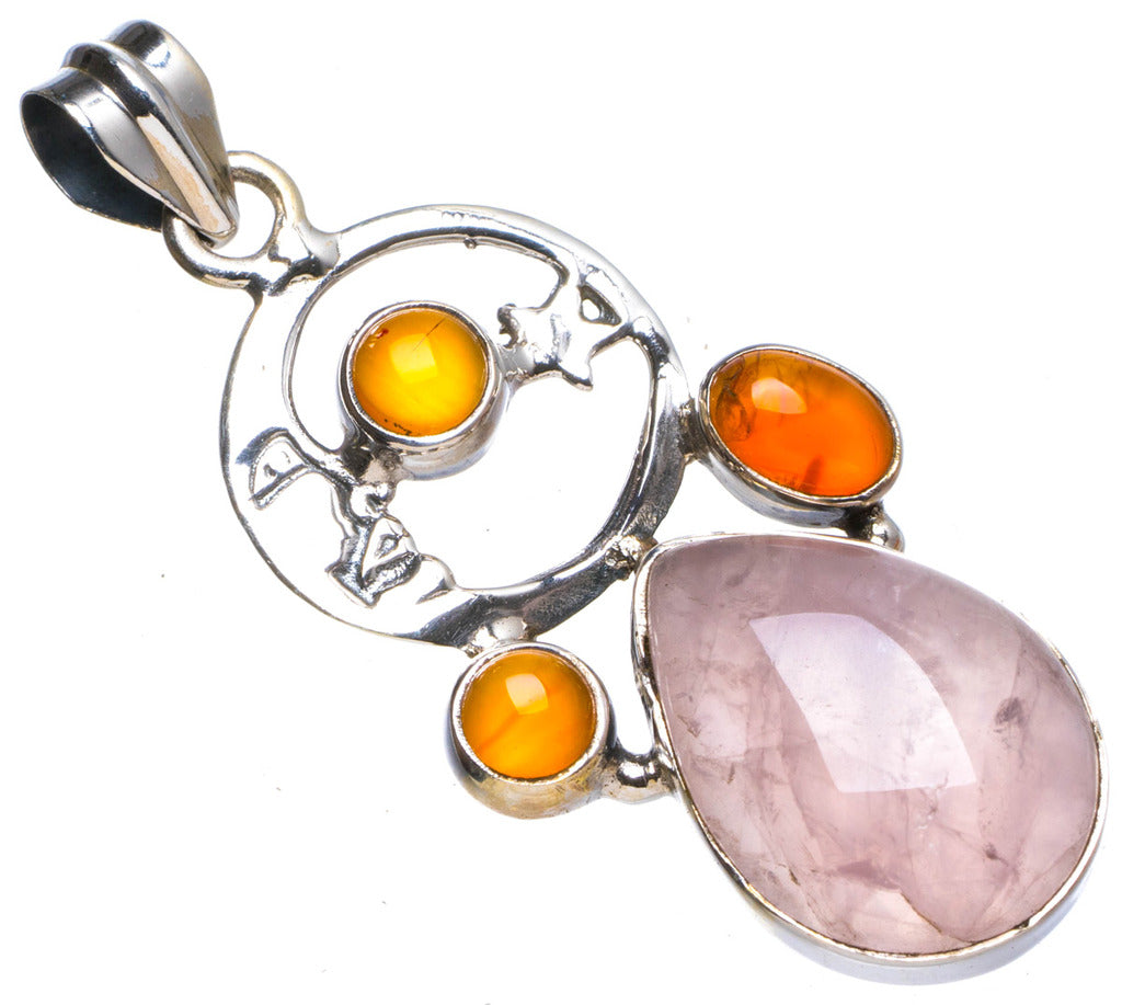 Natural Rose Quartz andCarnelian Handmade Unique 925 Sterling Silver Pendant 1.75