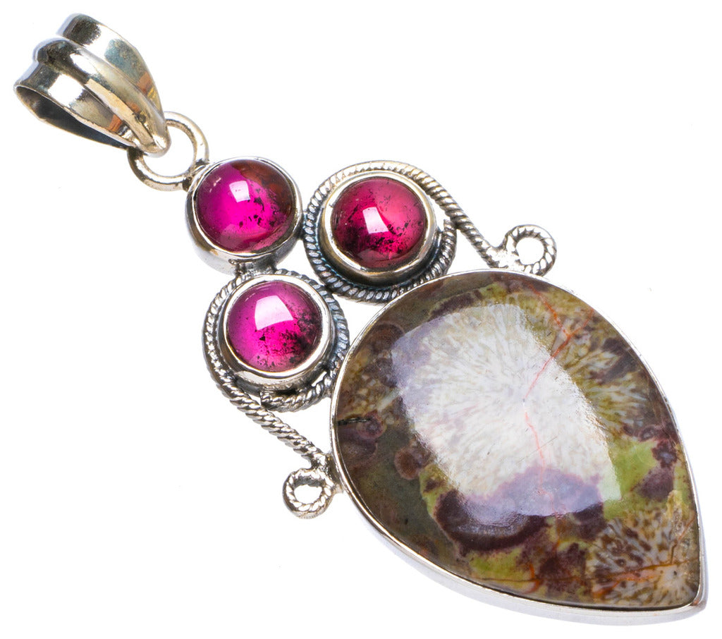 Natural Chrysanthemum Jasper and Amethyst Handmade Unique 925 Sterling Silver Pendant 1.75