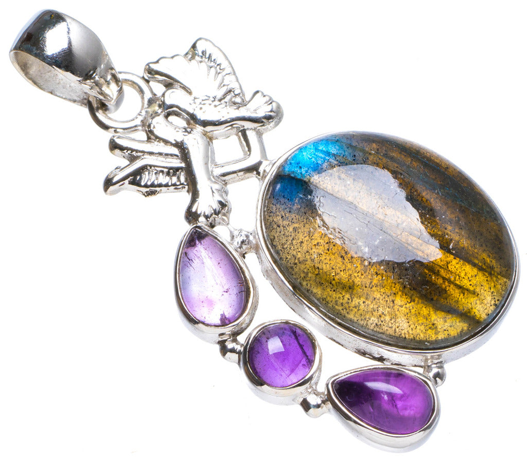 Natural Blue Fire Labradorite and Amethyst Handmade Unique 925 Sterling Silver Pendant 1.75