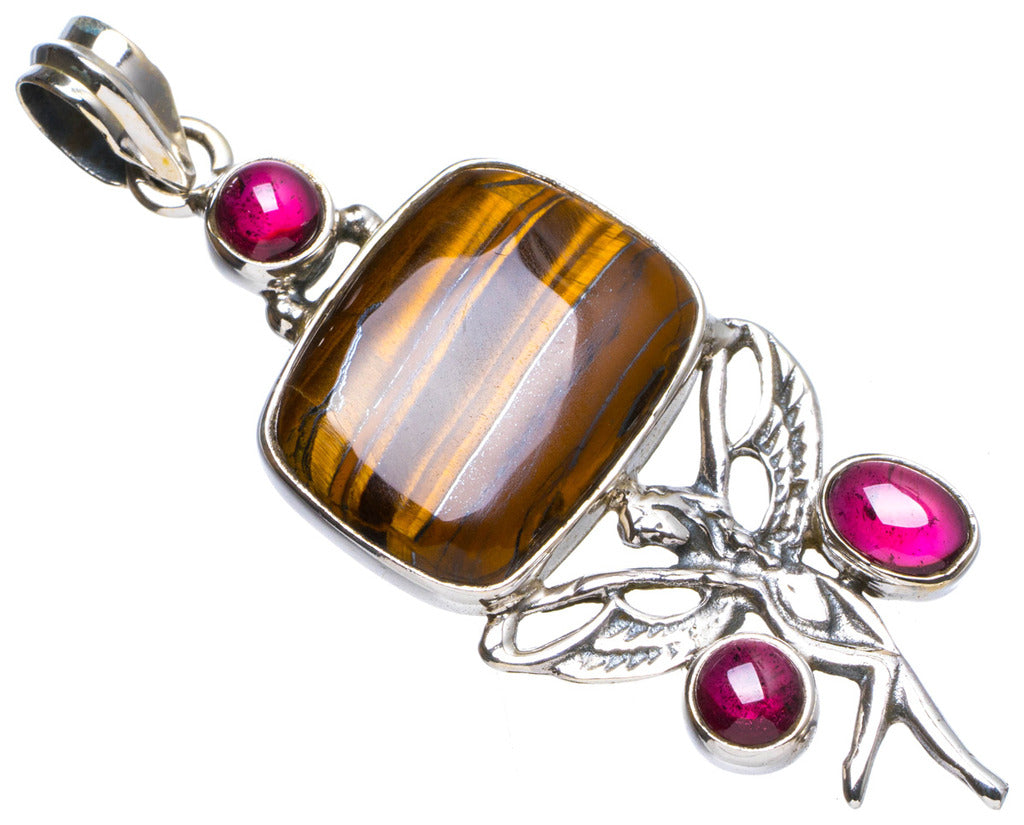 Natural Iron Tiger Eye and Amethyst Handmade Unique 925 Sterling Silver Pendant 2