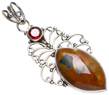 "Natural Ocean Jasper and Garnet Handmade Unique 925 Sterling Silver Pendant 2"" X1152"