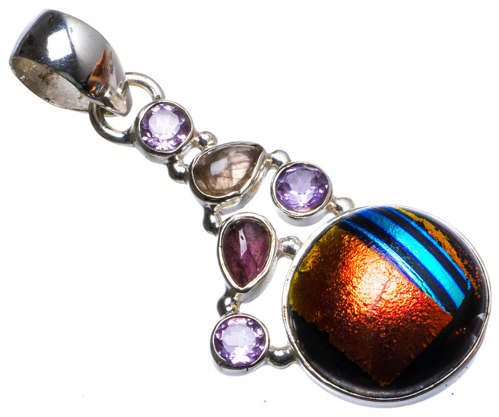 Natural Fancy Dichroic Glass and Amethyst Handmade Unique 925 Sterling Silver Pendant 1.75